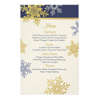 Navy Blue Gold Snowflakes Winter Wedding Menu Card