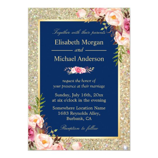 Navy Blue Gold Sparkles Pink Floral Wedding Invite