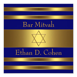 "Navy Blue Gold Star of David Bar Mitzvah 5.25"" Square Invitation Card"