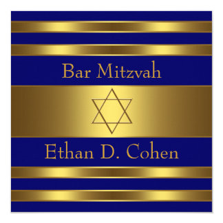 Navy Blue Gold Star of David Bar Mitzvah Card