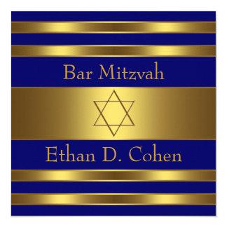 Navy Blue Gold Star of David Bar Mitzvah Card