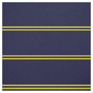 Navy blue, gold striped design fabric