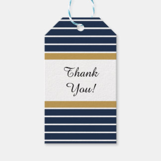 Navy Blue Gold Stripes Thank You Gift Tags Pack Of Gift Tags