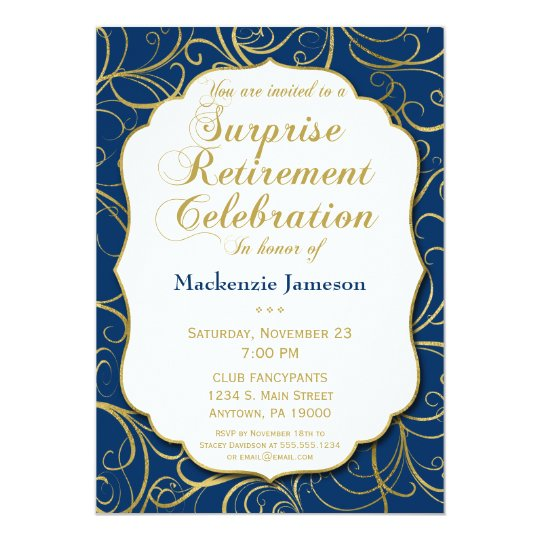 Navy Blue Gold Swirl Surprise Retirement Invite