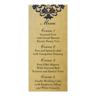 """navy blue""  gold Wedding menu"