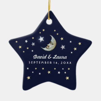 Navy Blue Gold & White Moon & Stars Wedding Custom Ceramic Star Ornament
