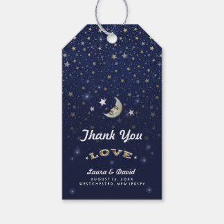 Navy Blue Gold & White Moon & Stars Wedding Pack Of Gift Tags