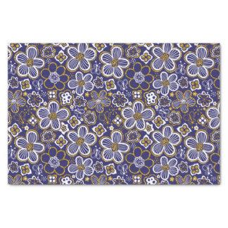 Navy Blue, Gold, White Whimsical Floral Flower Tissue Paper