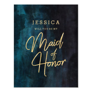 Navy Blue & Gold Will You Be My Maid of Honor Card
