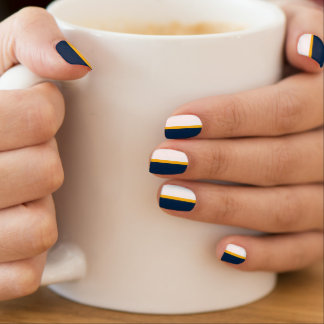 Navy Blue, Gold Yellow, White Stripe Minx Nail Art