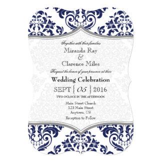 Navy Blue Gray Damask Bracket Wedding Invite