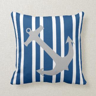 Navy Blue & Gray Nautical Anchor Striped Pillow