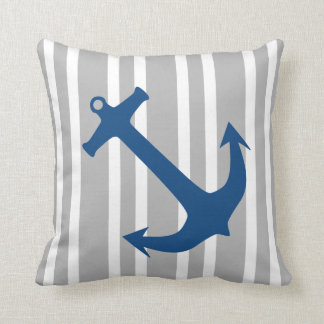 Navy Blue & Gray Nautical Anchor Striped Pillow