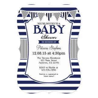 Navy Blue Gray Stripes Baby Shower Invitation