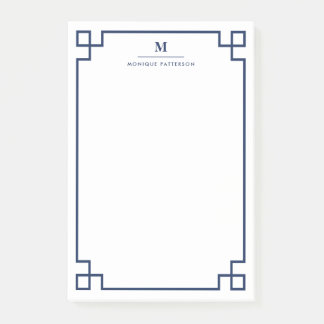 Navy Blue Greek Key Border Monogram Personalized Post-it® Notes