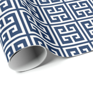 Navy Blue Greek Key Pattern Wrapping Paper