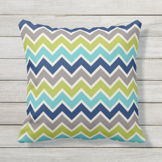 Navy Blue Green and Grey Chevron | Throw Pillow
