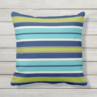 Navy Blue Green and Grey Stripes | Outdoor Pillow