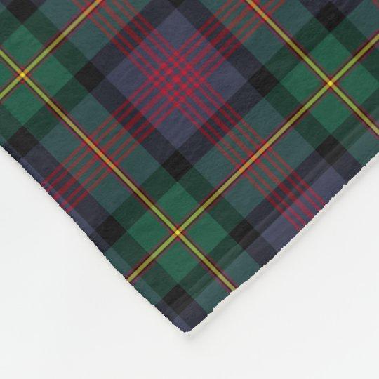 Navy Blue, Green, and Red Logan Clan Tartan Fleece Blanket