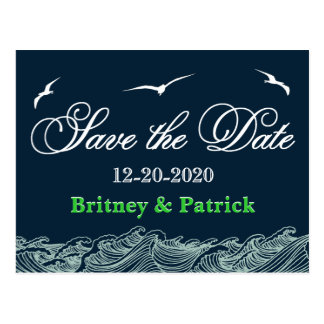 Navy Blue & Green Nautical Wedding Save the Dates Postcard