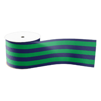 Navy Blue & Green Striped | Any Length | Custom Grosgrain Ribbon