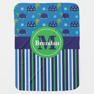 Navy Blue Green Turtle Stripe Personalized Baby Blanket