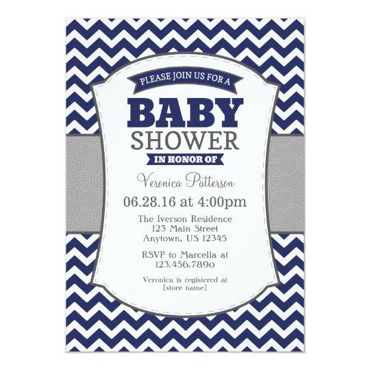 Navy Blue Grey Chevron Baby Shower Invitation