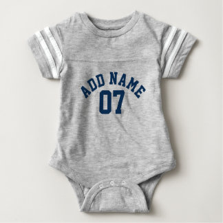 Navy Blue & Grey Sports Jersey Custom Name Number Baby Bodysuit