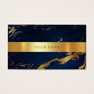 Navy Blue Grungy Gold Marble Vip Business Card2 Business Card