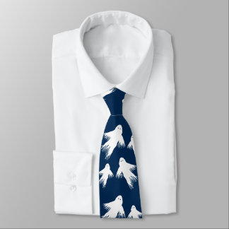 Navy Blue Halloween Ghosts Tie