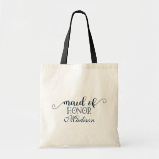 Navy Blue Hand Lettered Wedding Maid of Honor Tote Bag