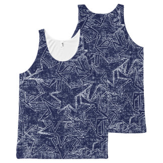 Navy Blue Hand-Painted Magic Stars Pattern All-Over-Print Tank Top