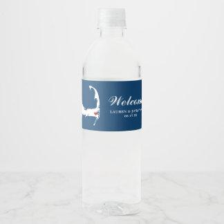 Navy Blue Harwich Cape Cod Map red heart Wedding Water Bottle Label