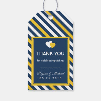 Navy Blue Heart Stripes Pattern Wedding Gift Tag Pack Of Gift Tags