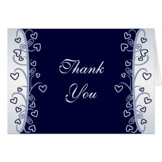 Navy Blue Hearts Scrolls Thank You Card
