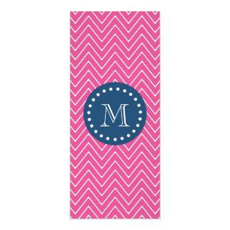 "Navy Blue, Hot Pink Chevron Pattern, Your Monogram 4"" X 9.25"" Invitation Card"