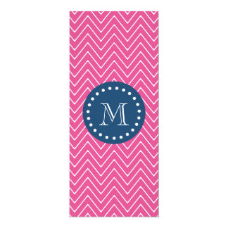 Navy Blue, Hot Pink Chevron Pattern, Your Monogram 4x9.25 Paper Invitation Card