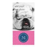 Navy Blue, Hot Pink Chevron Pattern, Your Monogram Customized Photo Card