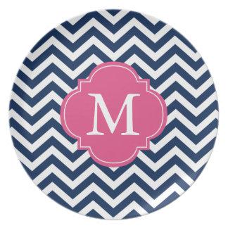 Navy Blue & Hot Pink Zigzag Pattern Monogram Plate