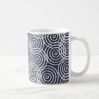 Navy Blue Ikat Overlap Circles Geometric Pattern Classic White Coffee Mug