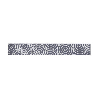Navy Blue Ikat Overlap Circles Geometric Pattern Wraparound Address Label