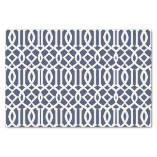 Navy Blue Imperial Trellis Geometric Pattern Tissue Paper