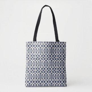 Navy Blue Imperial Trellis Patterned Tote Bag