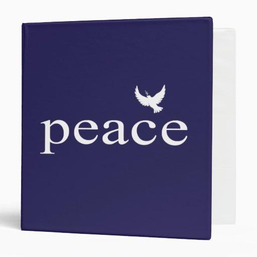 Navy Blue Inspirational Peace Quote Vinyl Binders