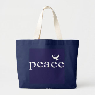 Navy Blue Inspirational Peace Quote Large Tote Bag