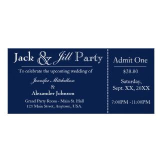 Navy Blue Jack and Jill Shower Ticket Invitation