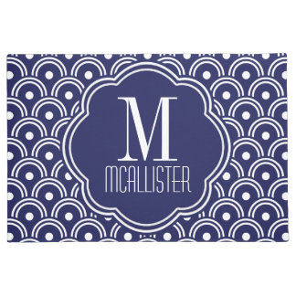 Navy Blue Japanese Style Pattern Personalized Doormat