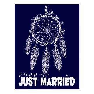 Navy Blue Just Married Dream Catcher Wedding Postcard