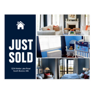 Navy blue Just sold real estate advert template Postcard