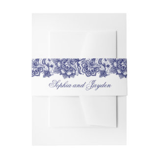 Navy Blue Lace Elegant Wedding Invitation Belly Band